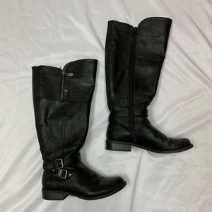 Guess black leather knee high boots